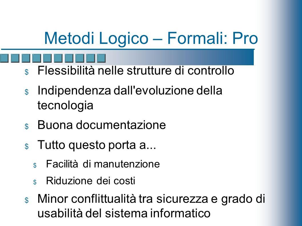 Metodi Logico – Formali: Pro Flessibilità nelle strutture di controllo Indipendenza dall evoluzione della tecnologia Buona documentazione Tutto questo porta a...