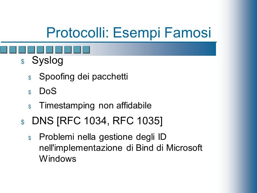 Protocolli: Esempi Famosi Syslog Spoofing dei pacchetti DoS Timestamping non affidabile DNS [RFC 1034, RFC 1035] Problemi nella gestione degli ID nell implementazione di Bind di Microsoft Windows