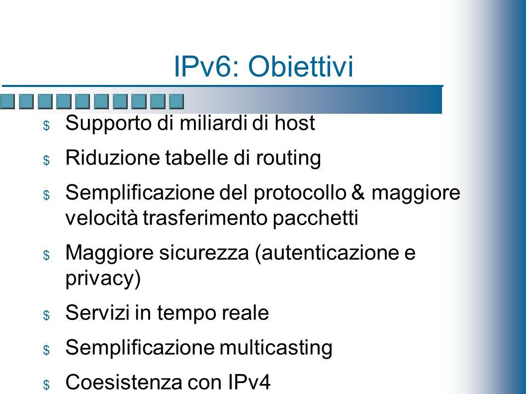 IPv6: Obiettivi Supporto di miliardi di host Riduzione tabelle di routing Semplificazione del protocollo & maggiore velocità trasferimento pacchetti Maggiore sicurezza (autenticazione e privacy) Servizi in tempo reale Semplificazione multicasting Coesistenza con IPv4