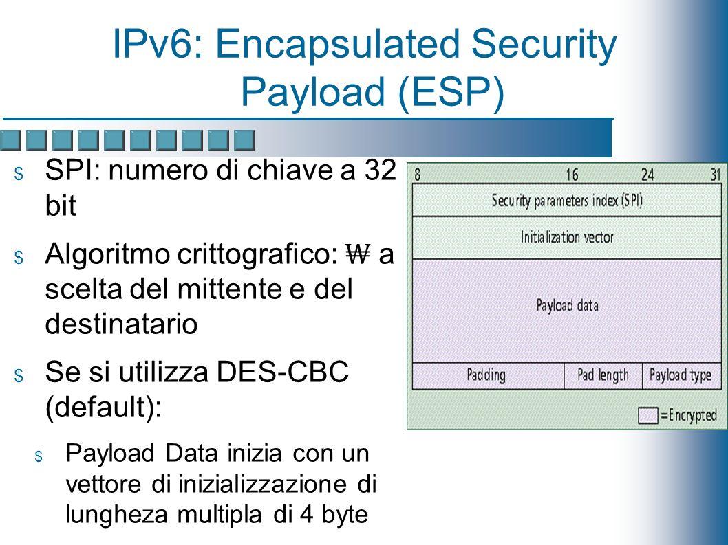 IPv6: Encapsulated Security Payload (ESP) SPI: numero di chiave a 32 bit Algoritmo crittografico: a scelta del mittente e del destinatario Se si utilizza DES-CBC (default): Payload Data inizia con un vettore di inizializzazione di lungheza multipla di 4 byte I dati crittografati sono completati a un multiplo di 8 byte