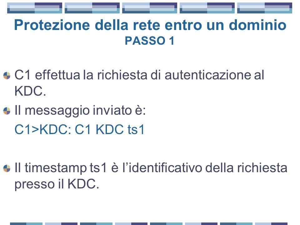 Protezione della rete entro un dominio PASSO 1 C1 effettua la richiesta di autenticazione al KDC. Il messaggio inviato è: C1>KDC: C1 KDC ts1 Il timest