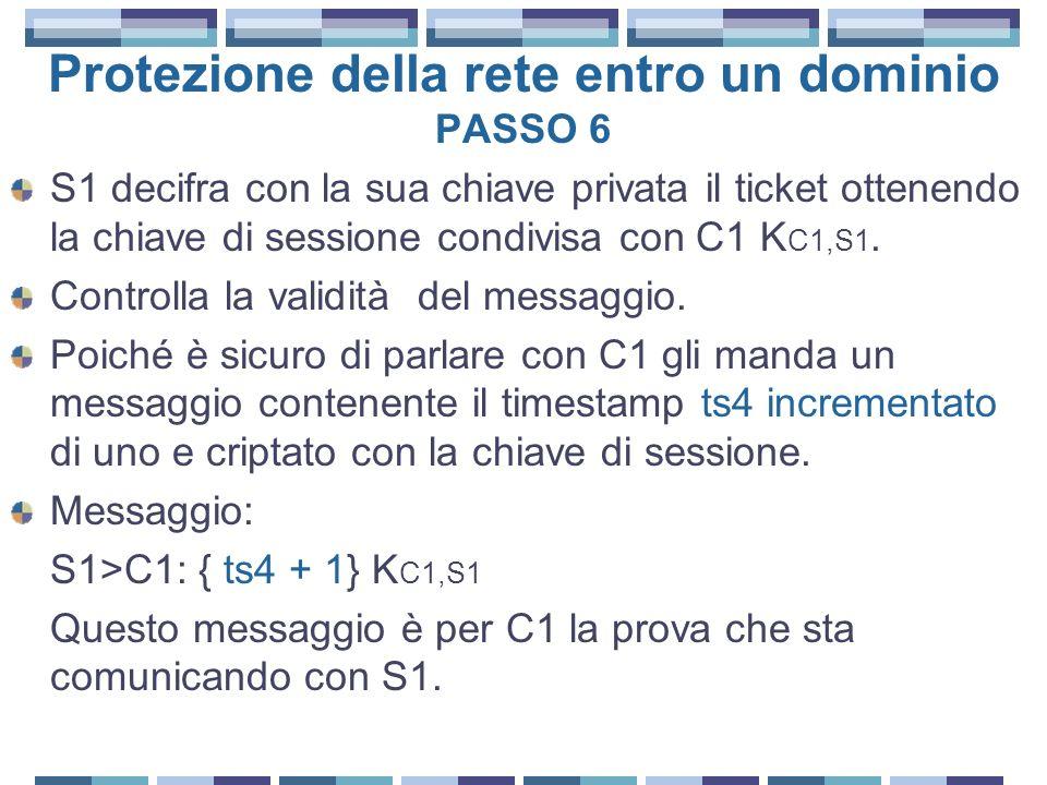 Protezione della rete entro un dominio PASSO 6 S1 decifra con la sua chiave privata il ticket ottenendo la chiave di sessione condivisa con C1 K C1,S1
