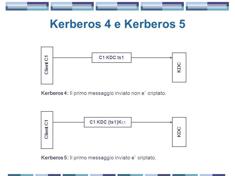 Kerberos 4 e Kerberos 5 Client C1 KDC C1 KDC ts1 Client C1 KDC C1 KDC {ts1}K C1 Kerberos 5: Il primo messaggio inviato e` criptato. Kerberos 4: Il pri