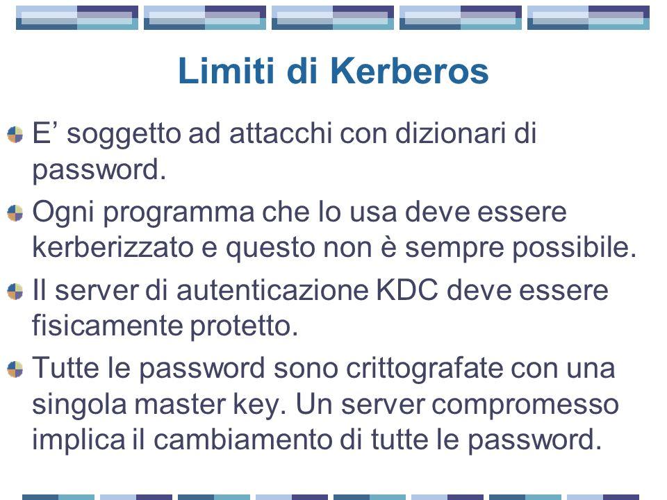 Limiti di Kerberos E soggetto ad attacchi con dizionari di password. Ogni programma che lo usa deve essere kerberizzato e questo non è sempre possibil