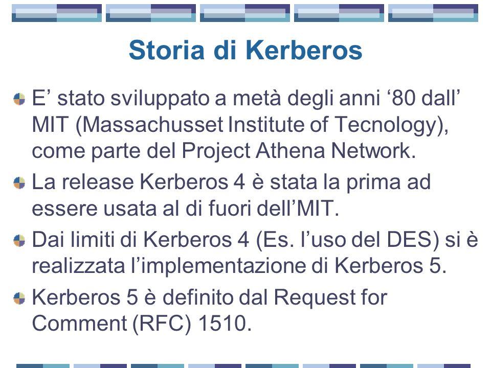 Storia di Kerberos E stato sviluppato a metà degli anni 80 dall MIT (Massachusset Institute of Tecnology), come parte del Project Athena Network.