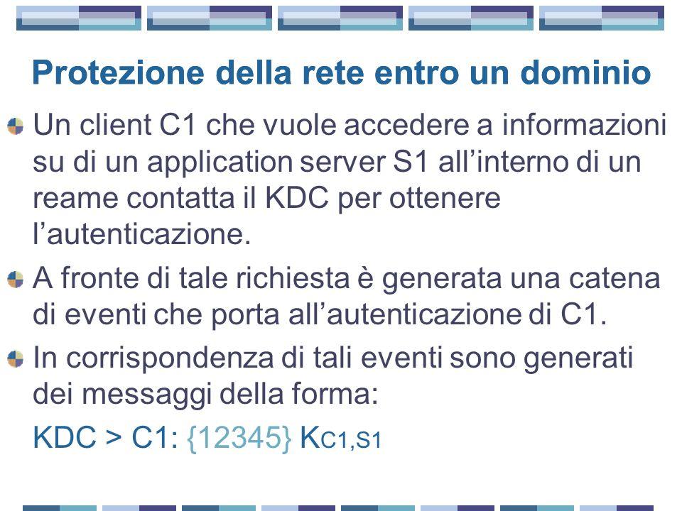 Protezione della rete entro un dominio Un client C1 che vuole accedere a informazioni su di un application server S1 allinterno di un reame contatta il KDC per ottenere lautenticazione.