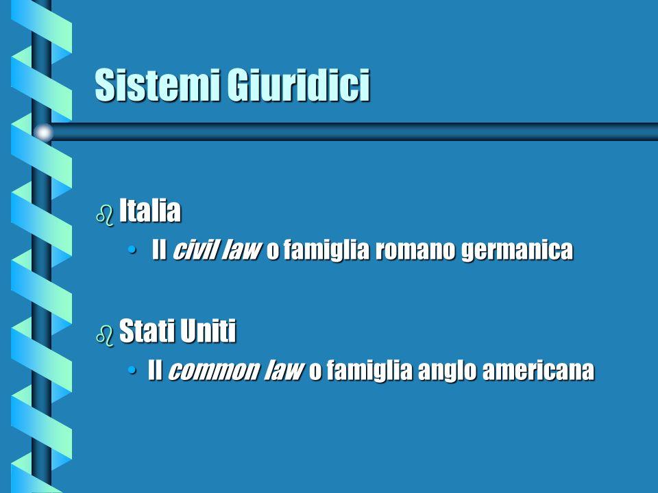 Sistemi Giuridici b Italia Il civil law o famiglia romano germanica Il civil law o famiglia romano germanica b Stati Uniti Il common law o famiglia anglo americanaIl common law o famiglia anglo americana