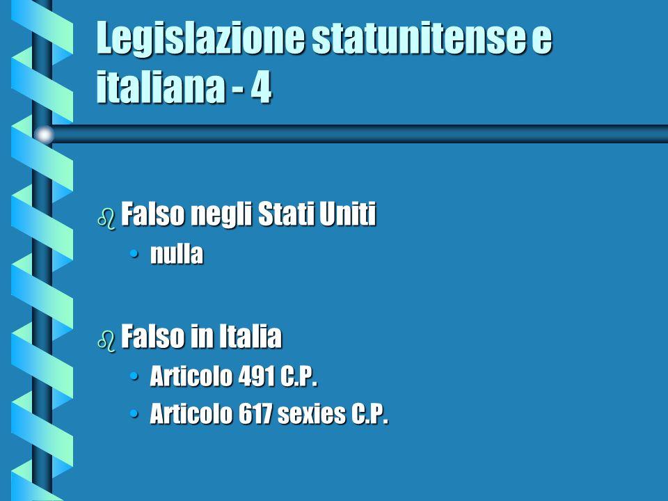 Legislazione statunitense e italiana - 4 b Falso negli Stati Uniti nullanulla b Falso in Italia Articolo 491 C.P.Articolo 491 C.P. Articolo 617 sexies