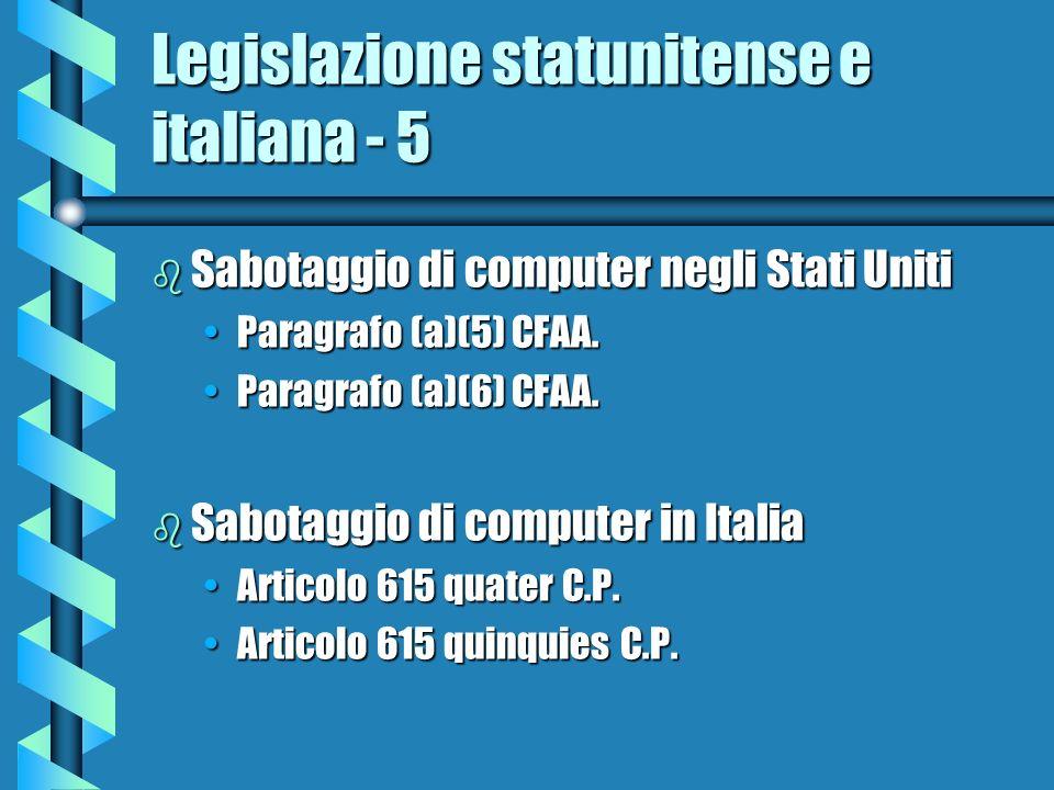Legislazione statunitense e italiana - 5 b Sabotaggio di computer negli Stati Uniti Paragrafo (a)(5) CFAA.Paragrafo (a)(5) CFAA. Paragrafo (a)(6) CFAA