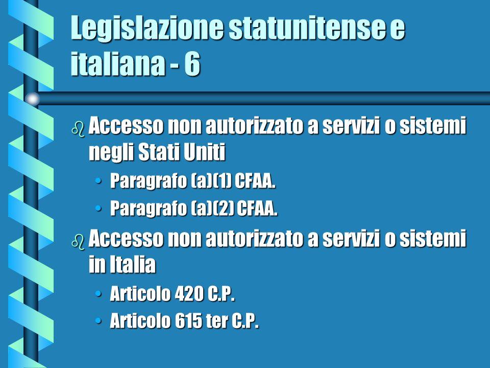 Legislazione statunitense e italiana - 6 b Accesso non autorizzato a servizi o sistemi negli Stati Uniti Paragrafo (a)(1) CFAA.Paragrafo (a)(1) CFAA.