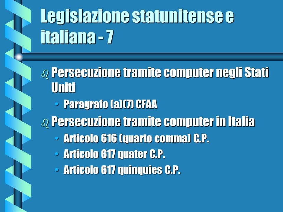 Legislazione statunitense e italiana - 7 b Persecuzione tramite computer negli Stati Uniti Paragrafo (a)(7) CFAAParagrafo (a)(7) CFAA b Persecuzione tramite computer in Italia Articolo 616 (quarto comma) C.P.Articolo 616 (quarto comma) C.P.