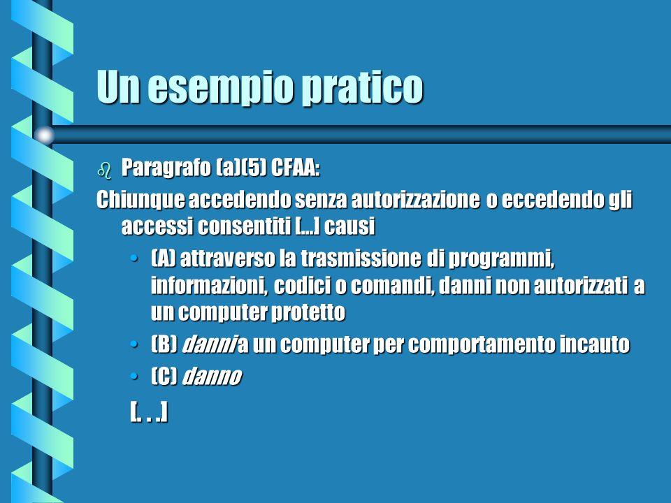 Un esempio pratico b Paragrafo (a)(5) CFAA: Chiunque accedendo senza autorizzazione o eccedendo gli accessi consentiti […] causi (A) attraverso la trasmissione di programmi, informazioni, codici o comandi, danni non autorizzati a un computer protetto(A) attraverso la trasmissione di programmi, informazioni, codici o comandi, danni non autorizzati a un computer protetto (B) danni a un computer per comportamento incauto(B) danni a un computer per comportamento incauto (C) danno(C) danno [...]