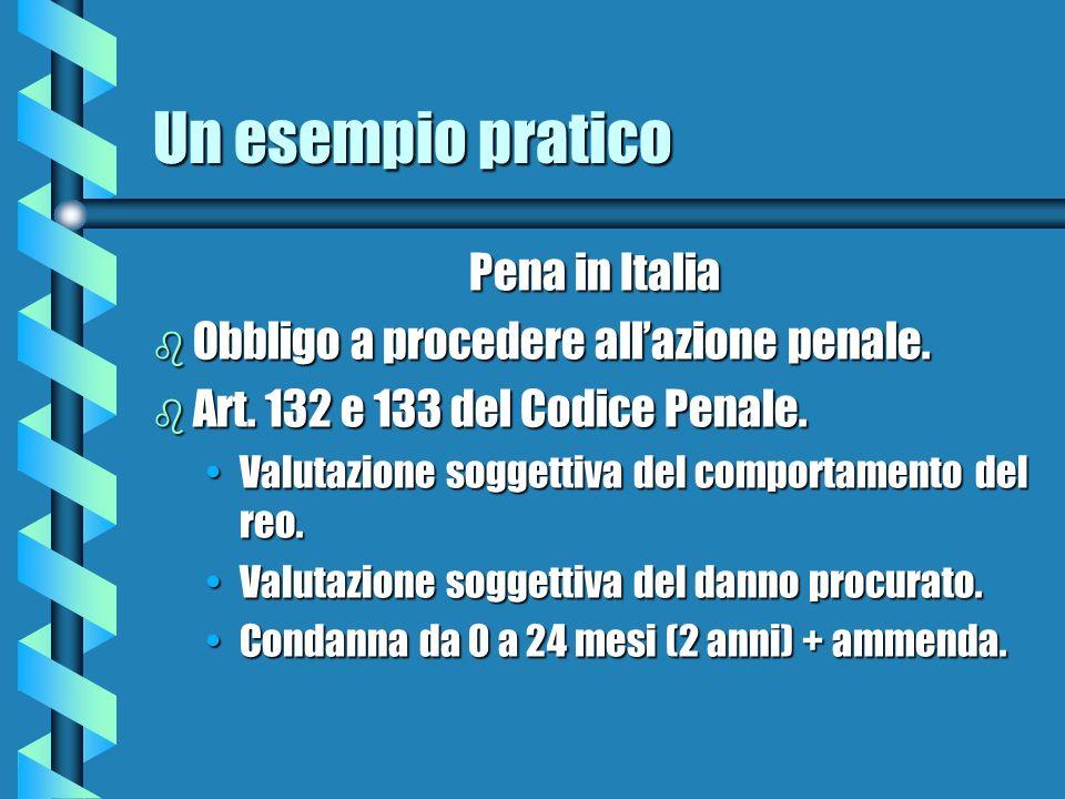 Un esempio pratico Pena in Italia b Obbligo a procedere allazione penale. b Art. 132 e 133 del Codice Penale. Valutazione soggettiva del comportamento