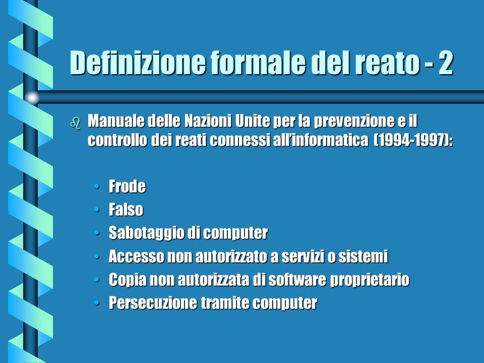 Definizione formale del reato - 2 b Manuale delle Nazioni Unite per la prevenzione e il controllo dei reati connessi allinformatica (1994-1997): Frode