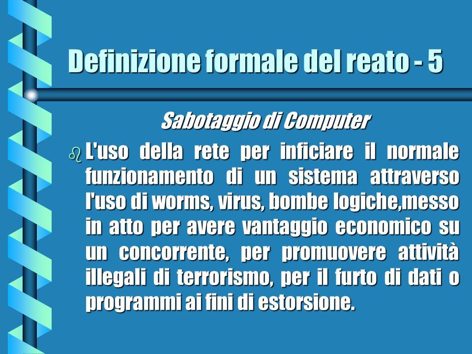 Definizione formale del reato - 5 Sabotaggio di Computer b L'uso della rete per inficiare il normale funzionamento di un sistema attraverso l'uso di w
