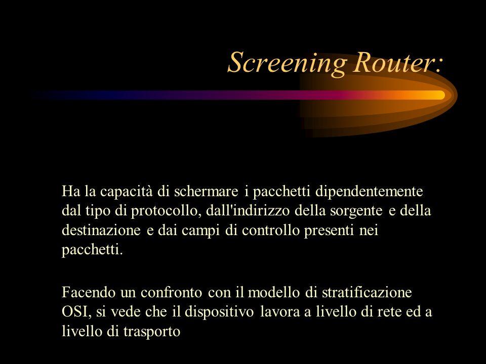Screening Router: Ha la capacità di schermare i pacchetti dipendentemente dal tipo di protocollo, dall'indirizzo della sorgente e della destinazione e