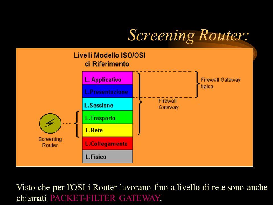 Screening Router: Visto che per l'OSI i Router lavorano fino a livello di rete sono anche chiamati PACKET-FILTER GATEWAY.