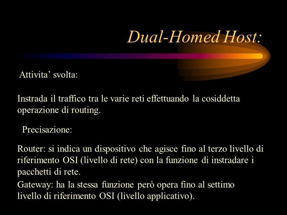 Dual-Homed Host: Attivita svolta: Instrada il traffico tra le varie reti effettuando la cosiddetta operazione di routing. Router: si indica un disposi