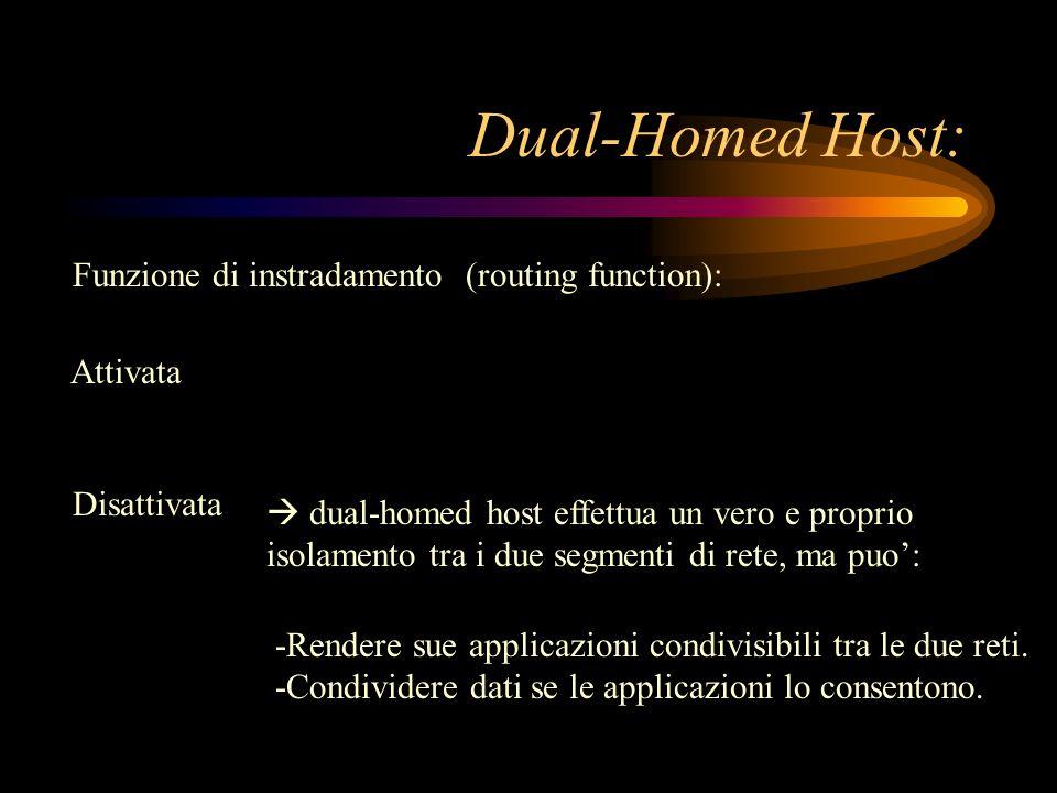 Dual-Homed Host: Funzione di instradamento (routing function): Attivata Disattivata dual-homed host effettua un vero e proprio isolamento tra i due se