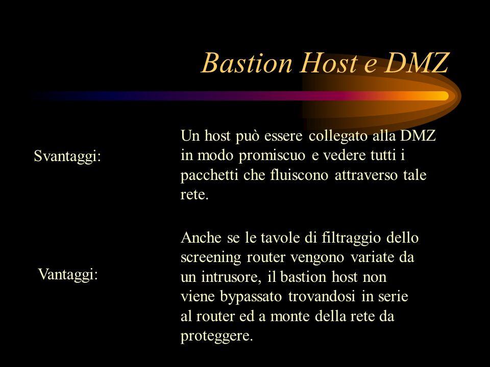 Svantaggi: Vantaggi: Un host può essere collegato alla DMZ in modo promiscuo e vedere tutti i pacchetti che fluiscono attraverso tale rete. Anche se l