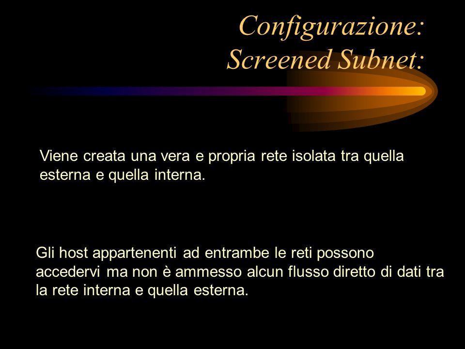 Configurazione: Screened Subnet: Viene creata una vera e propria rete isolata tra quella esterna e quella interna. Gli host appartenenti ad entrambe l