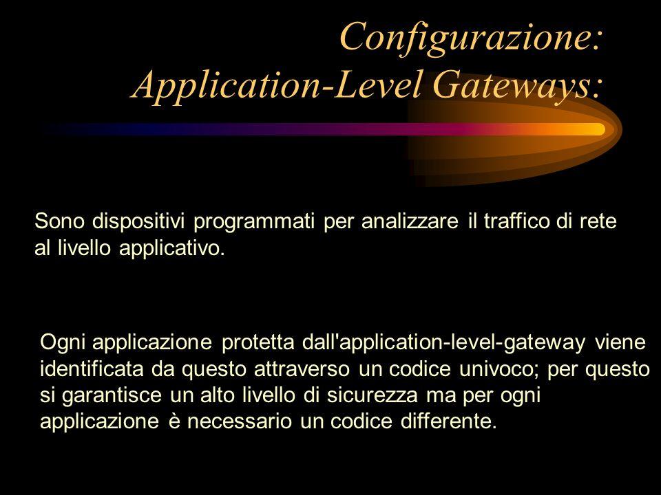 Configurazione: Application-Level Gateways: Sono dispositivi programmati per analizzare il traffico di rete al livello applicativo. Ogni applicazione