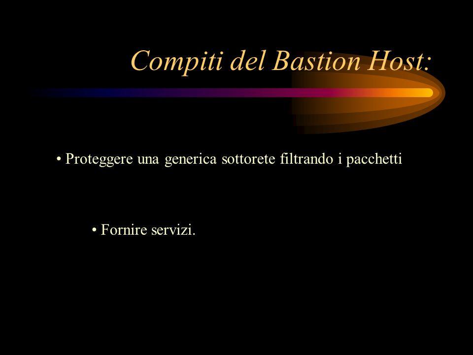 Compiti del Bastion Host: Proteggere una generica sottorete filtrando i pacchetti Fornire servizi.
