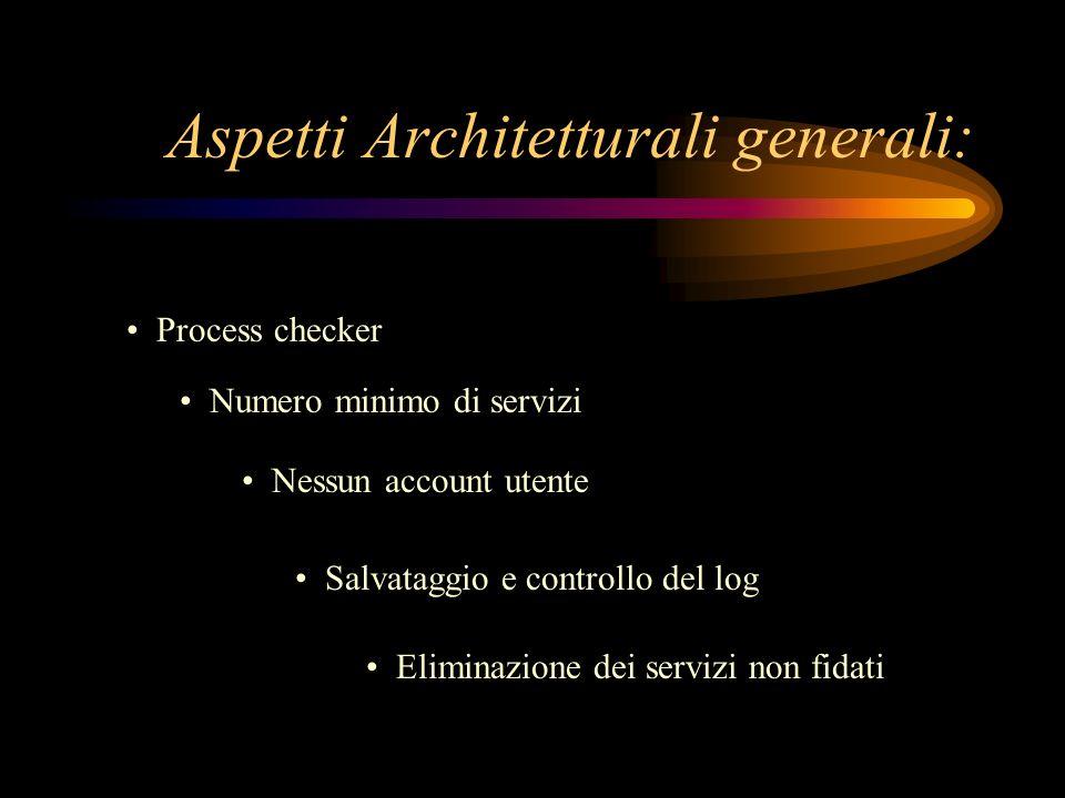 Process checker Aspetti Architetturali generali: Numero minimo di servizi Nessun account utente Salvataggio e controllo del log Eliminazione dei servi