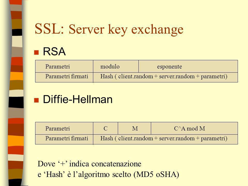 SSL: Server key exchange n RSA n Diffie-Hellman Parametri modulo esponente Parametri firmati Hash ( client.random + server.random + parametri) Paramet