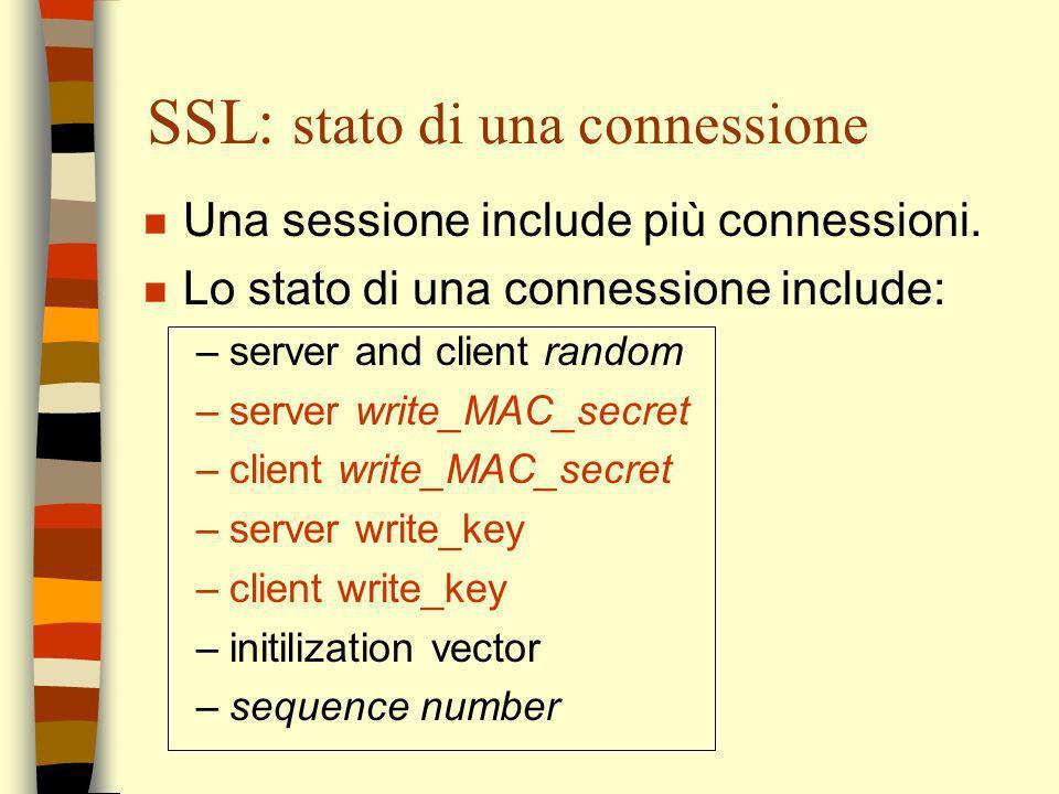 SSL: stato di una connessione n Una sessione include più connessioni. n Lo stato di una connessione include: –server and client random –server write_M