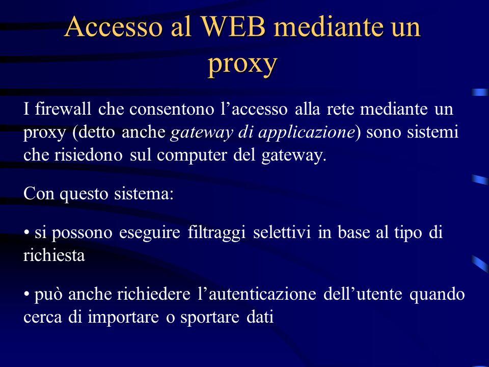 Accesso al WEB mediante un proxy I firewall che consentono laccesso alla rete mediante un proxy (detto anche gateway di applicazione) sono sistemi che risiedono sul computer del gateway.