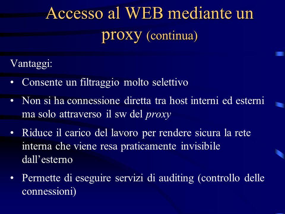 Accesso al WEB mediante un proxy (continua) Vantaggi: Consente un filtraggio molto selettivo Non si ha connessione diretta tra host interni ed esterni