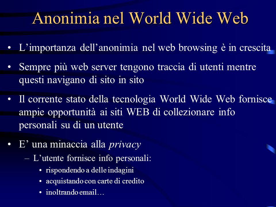 Anonimia nel World Wide Web Limportanza dellanonimia nel web browsing è in crescita Sempre più web server tengono traccia di utenti mentre questi navi