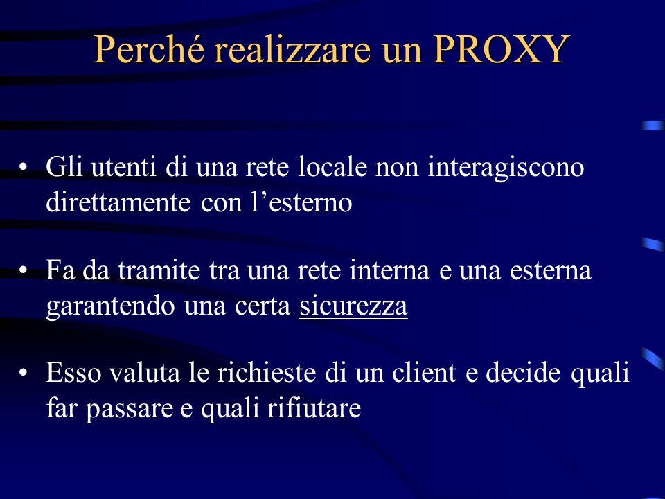 Perché realizzare un PROXY Gli utenti di una rete locale non interagiscono direttamente con lesterno Fa da tramite tra una rete interna e una esterna