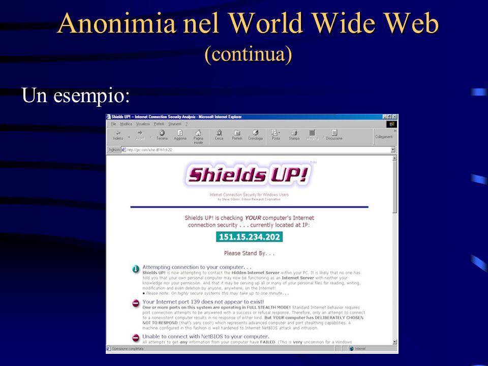 Anonimia nel World Wide Web (continua) Un esempio: