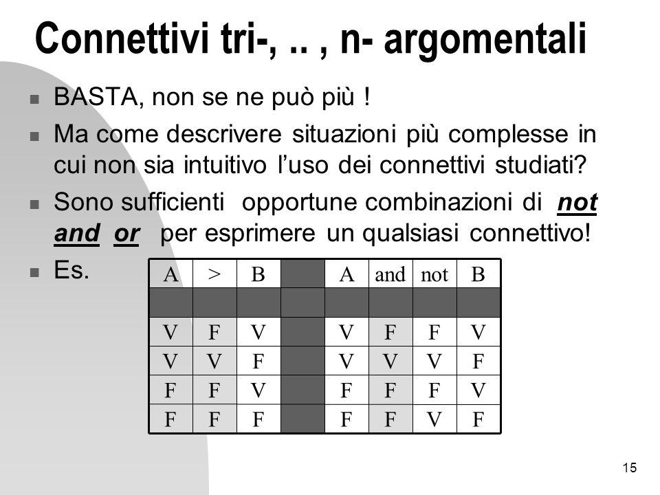 15 Connettivi tri-,.., n- argomentali BASTA, non se ne può più .