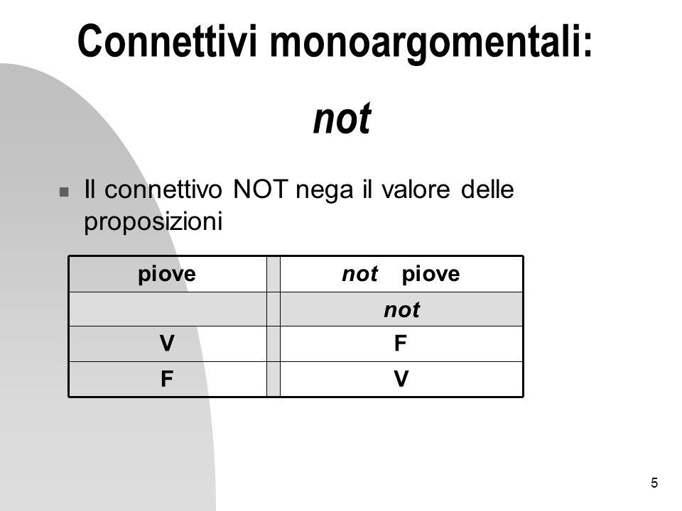 6 Connettivi bi-argomentali Alcuni sono banali: rimandano tutti V, tutti F, stessi valori di A o B, valori negati di A e B Altri sono parte fondamentale del nostro linguaggio