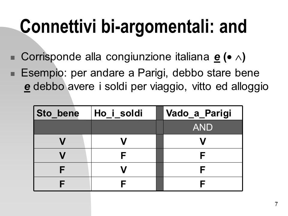 8 Connettivi bi-argomentali: or Corrisponde alla disgiunzione o (+ ) Esempio: per essere promosso, debbo essere preparato o debbo essere raccomandato FFF VVF VFV VVV OR essere_promosso essere_raccomandato essere_preparato