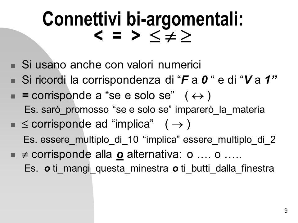 9 Connettivi bi-argomentali: Si usano anche con valori numerici Si ricordi la corrispondenza di F a 0 e di V a 1 = corrisponde a se e solo se ( ) Es.