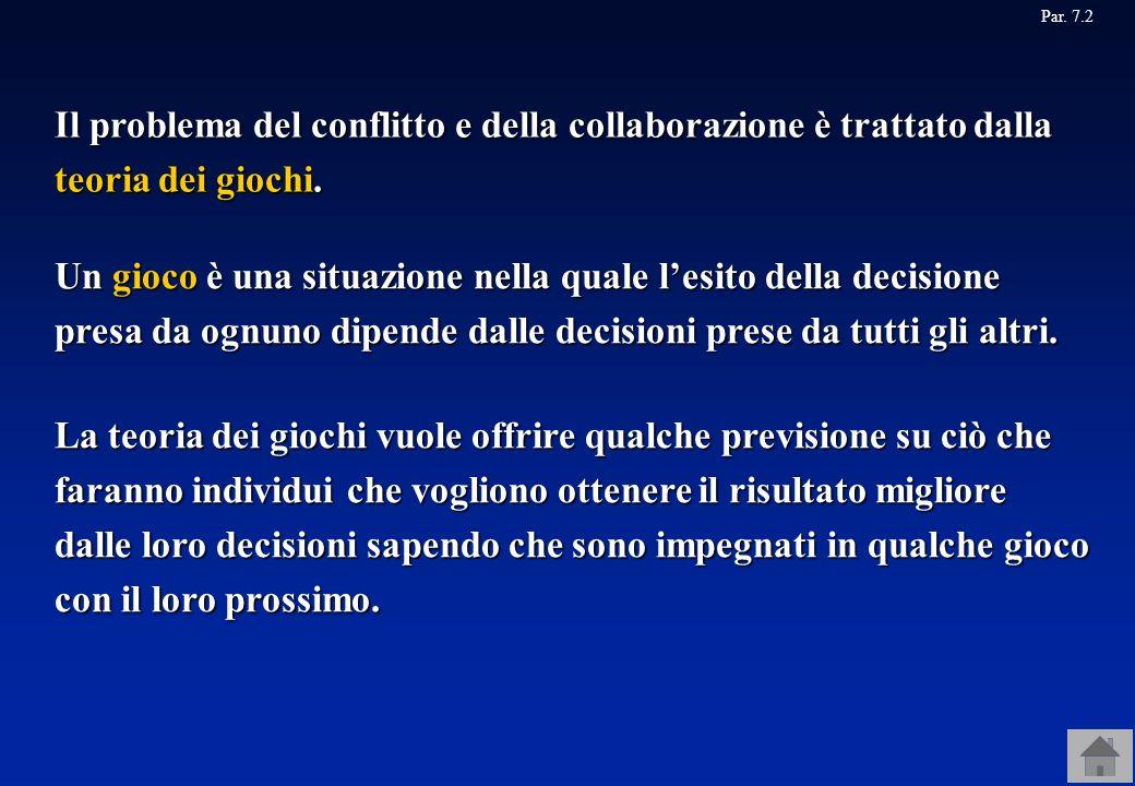 Il problema del conflitto e della collaborazione è trattato dalla teoria dei giochi. Par. 7.2 Un gioco è una situazione nella quale lesito della decis