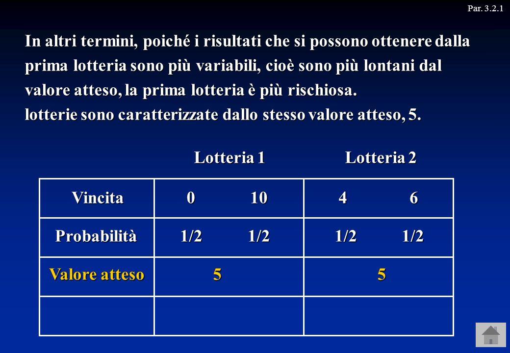 Vincita Probabilità 010 1/2 Consideriamo ora due lotterie, che rappresentano due scommesse sul risultato del lancio di una moneta. Lotteria 1 Lotteria