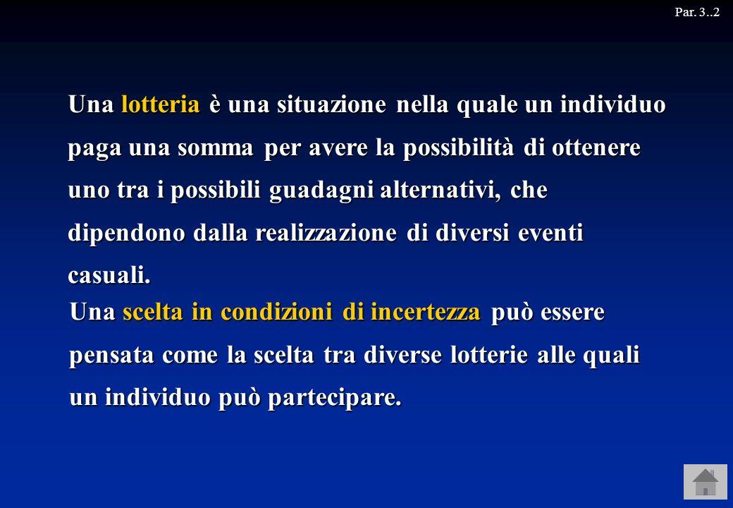 Una lotteria è una situazione nella quale un individuo paga una somma per avere la possibilità di ottenere uno tra i possibili guadagni alternativi, c