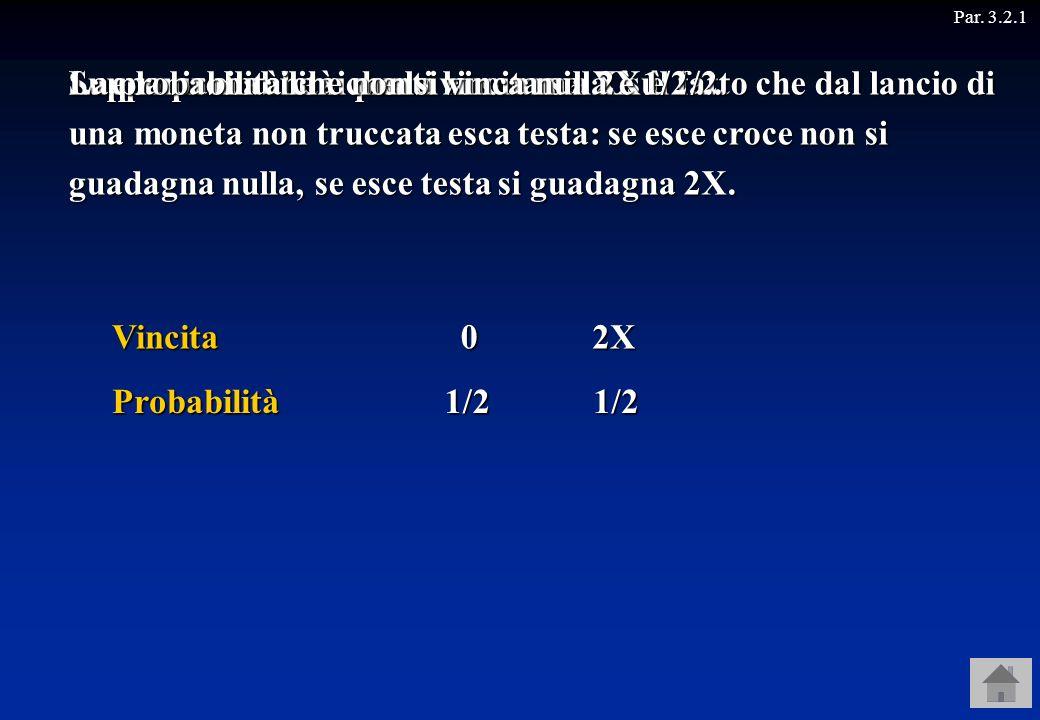 Par. 3.2.1Vincita Probabilità 02X 1/21/2 Supponiamo che si punti la somma X sul fatto che dal lancio di una moneta non truccata esca testa: se esce cr