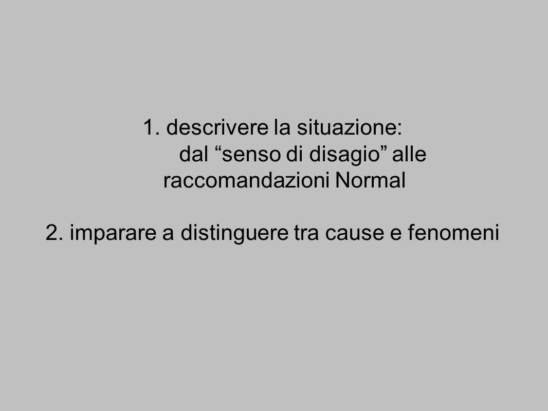 1. descrivere la situazione: dal senso di disagio alle raccomandazioni Normal 2. imparare a distinguere tra cause e fenomeni