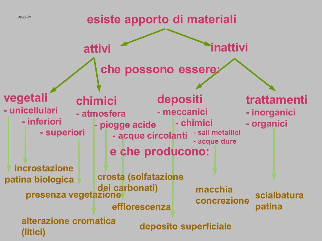 esiste apporto di materiali attivi inattivi che possono essere: vegetali - unicellulari - inferiori - superiori depositi - meccanici - chimici - sali