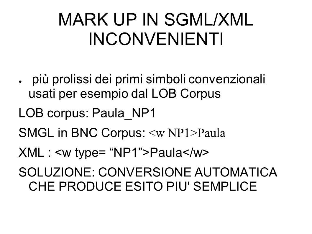 MARK UP IN SGML/XML INCONVENIENTI più prolissi dei primi simboli convenzionali usati per esempio dal LOB Corpus LOB corpus: Paula_NP1 SMGL in BNC Corpus: Paula XML : Paula SOLUZIONE: CONVERSIONE AUTOMATICA CHE PRODUCE ESITO PIU SEMPLICE