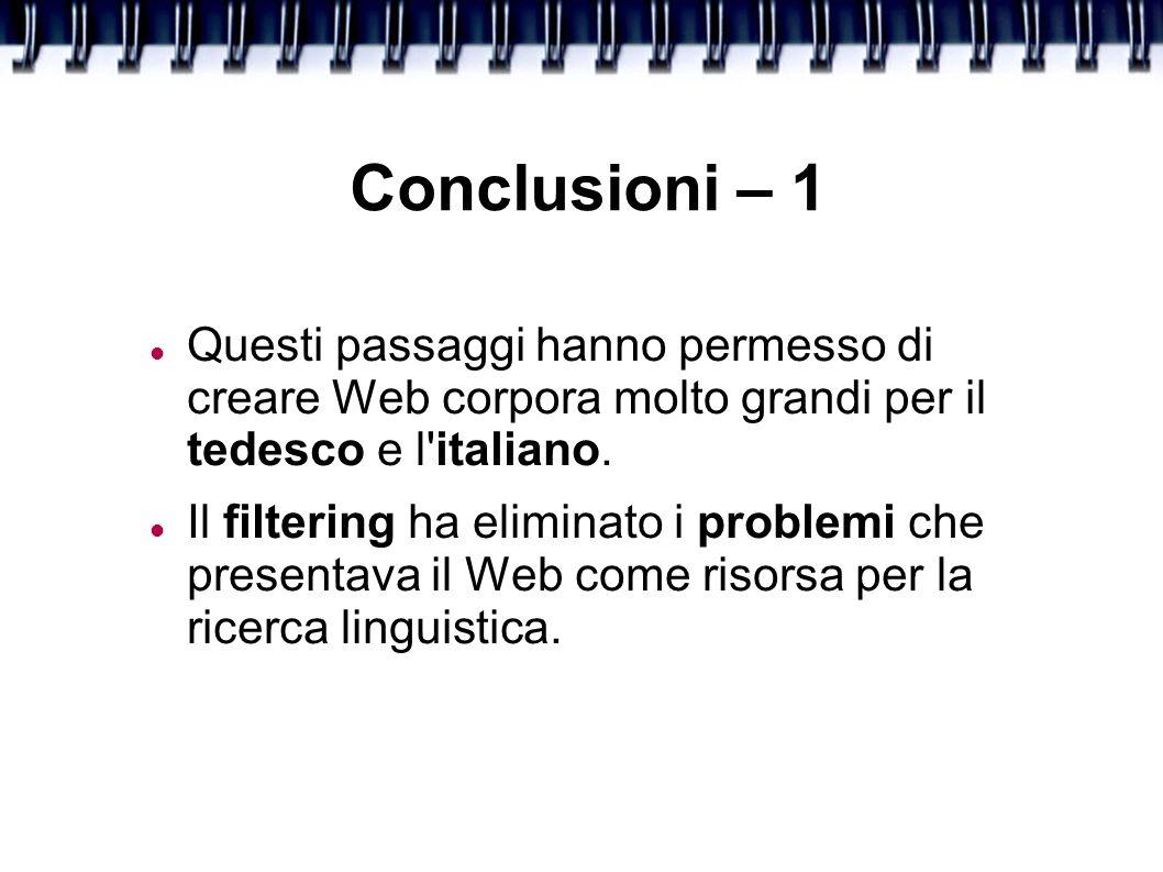 Conclusioni – 1 Questi passaggi hanno permesso di creare Web corpora molto grandi per il tedesco e l italiano.