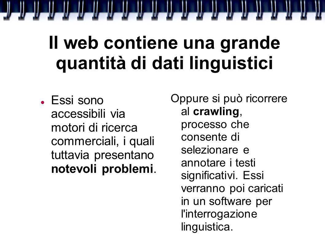 Lo scopo del crawling Creare una risorsa bilanciata, contenente numerosi tipi di testo che corrispondono all insieme presente nei corpora linguistici tradizionali.