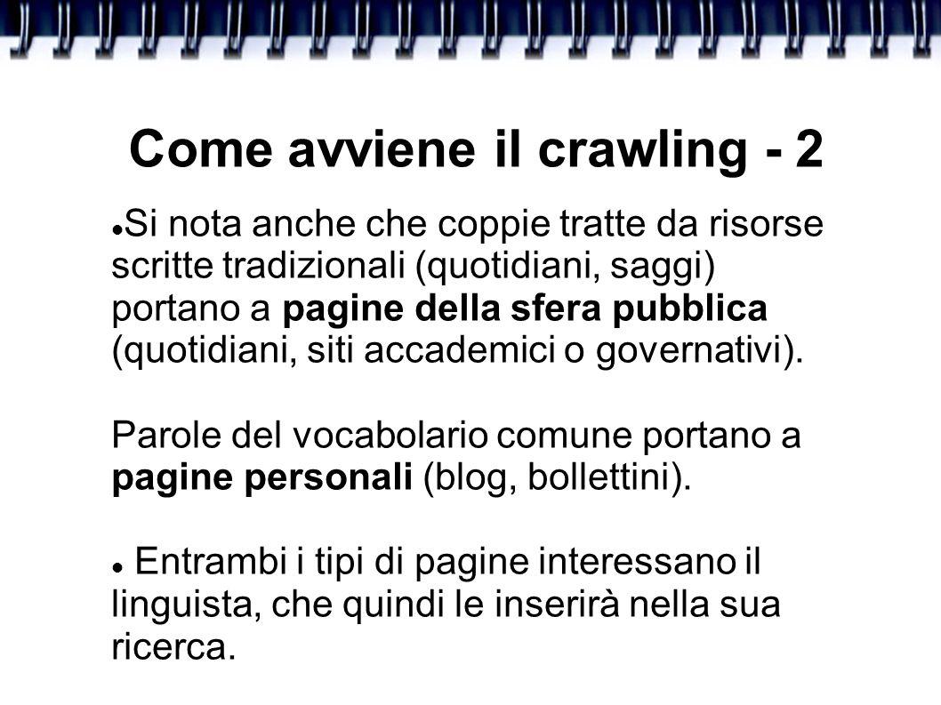 Come avviene il crawling - 2 Si nota anche che coppie tratte da risorse scritte tradizionali (quotidiani, saggi) portano a pagine della sfera pubblica (quotidiani, siti accademici o governativi).