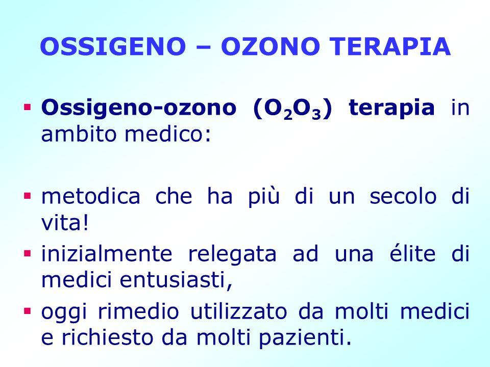 OSSIGENO – OZONO TERAPIA Ossigeno-ozono (O 2 O 3 ) terapia in ambito medico: metodica che ha più di un secolo di vita! inizialmente relegata ad una él
